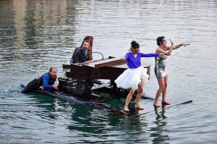 A floating piano performs in Gijon